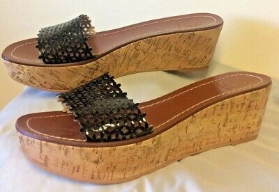 3578c45e7 Tory Burch Black Daisy Perforated Floral Wedge Slides Cork Shoe Size 8  LEATHER