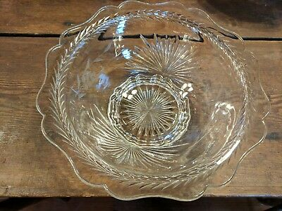 Lovely Vintage Heavy Pressed/Etched Clear Glass Bowl
