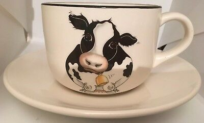 Arthur Wood Friesian Cow Design Back To Front Oversized Teacup & Saucer