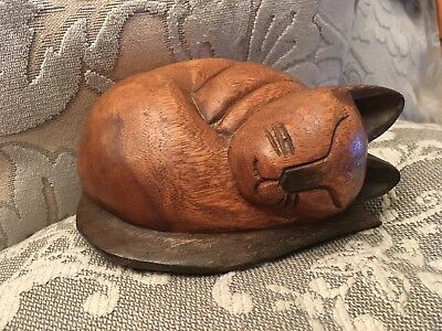 Wooden Cat Figure Curled Up Sleeping Carved Wood Kitten.                  (0891)