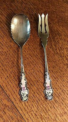 Antique R Blackington Sterling Silver Enameled OLIVE FORK SCALLOP SPOON Set
