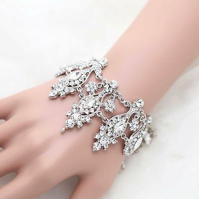 Silver Plated Wedding Bracelet Chain Rhinestone Crystal Fashion Jewelry