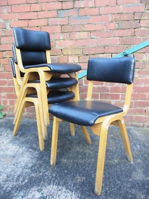Vintage Stacking Chairs x 4 Beech & Black Vinyl Mid-Century Retro 1960's - L3