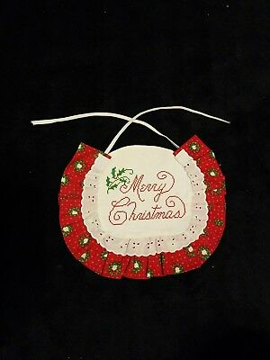 Handmade MERRY CHRISTMAS Baby Bib Counted Cross Stitch Eyelet Christmas Fabric