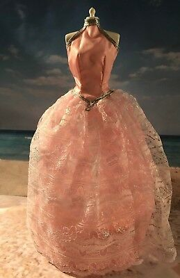 Barbie Doll Fashions Clothes Pink Lace Overlay Halter Neck Gown Dress