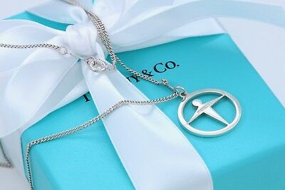 """Tiffany & Co Sterling Silver Manpower Pendant Necklace 16.5"""" With Pouch."""