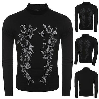 Men Fashion Casual Stand Collar Long Sleeve Floral Print T-Shirt Top WT88 01