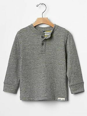 Nwt Baby Gap Boy's Heather Gray Reversible Stripe Double-Knit Henley (5 Years)