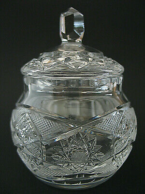 Vintage Clear Glass Cut Crystal Sugar Jam Relish Jar with Lid