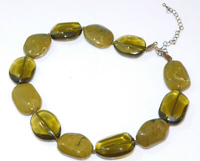 Vintage Chunky Olive Green Plastic Bead Choker Necklace extender 5e 1