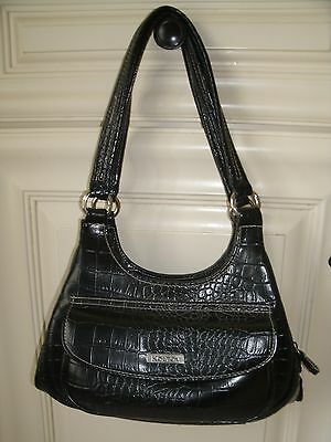 KOLTOV  Women's  Black Crocodile-like Purse 3 Compartments Faux Leather  New