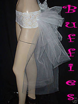 Tie on Ribbon Bustle Train Tail Dancer Goth Burlesque Black White Red size 8-28