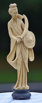 """Antique Large 14"""" Chinese Carved Warrior Immortal Signed Figure Statue Rare Tao"""