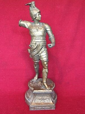 LargeAntique Ansonia Gilbert Waterbury Roman Soldier Spelter Mantel Clock Statue