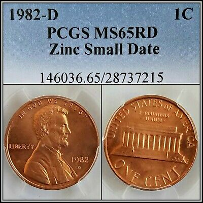 1982-D Zinc Small Date 1c Lincoln Memorial Cent PCGS MS65RD Red Gem Unc Penny