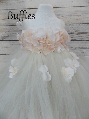 Girls White Ivory Bridesmaids Flowers and Pearls girl Tulle Tutu dress Wedding