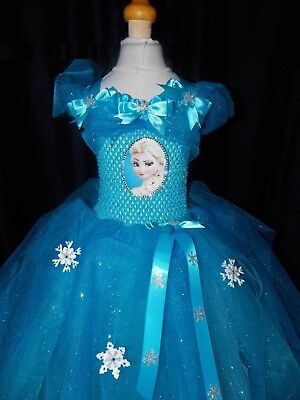 Girls Frozen Elsa (Inspired) Handmade dress with Sparkle & Diamante net ages 1-9