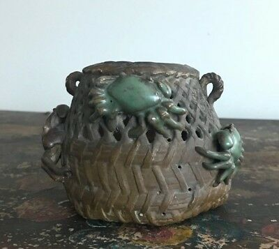 Antique Japanese Oribe Ware Reticulated Basket Pottery Vase Applied Crabs shell