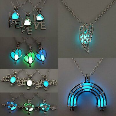 Luminous Steampunk Heart Glow In The Dark Pendant Necklace Womens Jewelry Gifts