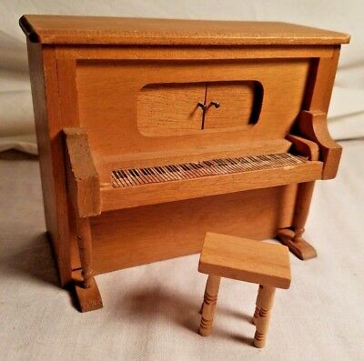 Wind Up Player Piano Vintage Doll House Wood Furniture Set Era 1:12