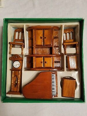 Grand Piano Family Room Vintage Doll House Wood Mid Century Furniture Set  1:12