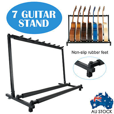 7 GUITAR STAND - MULTIPLE Five INSTRUMENT Display Rack Folding Padded Organizer