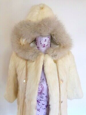 Vintage GIRLS KIDS Genuine Rabbit Fur Coat Hood Pom Pom 1980's Cream 4