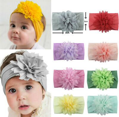 Sweet Flower Wide Nylon Headband Baby Knot Bow Headwraps Soft Elastic Hair Bands