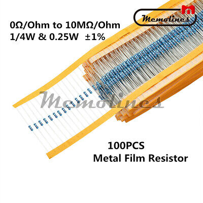 100PCS 1/4W 0.25W Metal Film Resistor ±1%- (0Ω to 10MΩ/Ohm) Full Range of Values