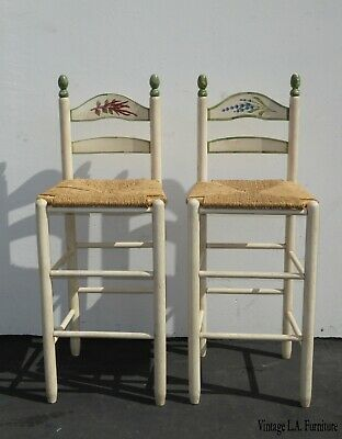 Pair Vintage French Country Shabby Chic Barstools Off White Floral w Rush Seats
