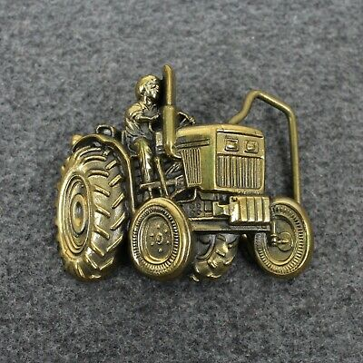 Vintage 70's 1976 Tractor Farmer Cut Out Solid Brass Baron Belt Buckle