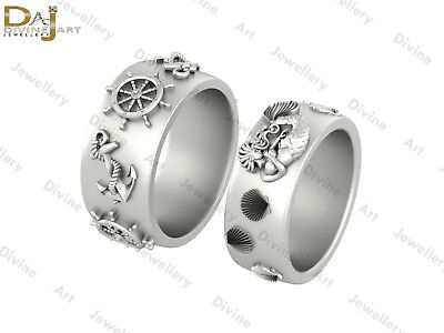Anchor Wheel Mermaid Scallop Shell Nautical Wedding Band Set Couple Promise Ring