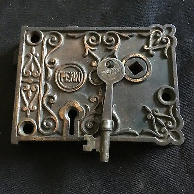 Antique Penn Rim Lock very ornate With Penn Skeleton Key