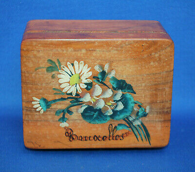 An antique floral painted wooden box, Brussels, Grand Tour, jewellery, trinket