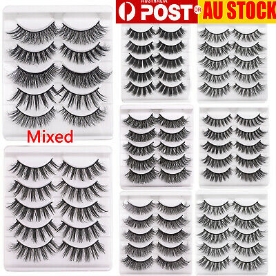 5Pairs Long Natural Handmade False Eyelashes 3D Mink Makeup Fake Lash Extension
