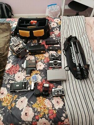 10 Old Vintage Cameras with accessories and tripod