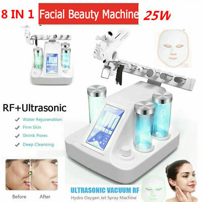 8 IN 1 Upgraded Hydro RF Spa Oxygen Facial Skin Care Machine Beauty Machine Kit