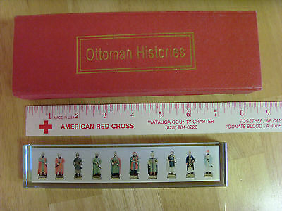 Turkish Ottoman Empire History Sultans Clear Acrylic Glass Block,20 Figures,rare