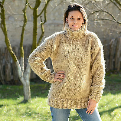 4366bbe63099d0 BEIGE Hand Knitted Wool non Mohair Sweater Turtleneck EXTRAVAGANTZA Size M