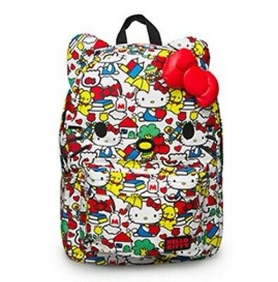 efbc08b63 Loungefly Hello Kitty Classic Vintage Print Face Backpack with Red Bow