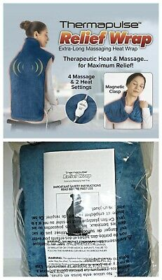 Thermapulse Relief Wrap Blue Extra-Long Massaging Heat Wrap ASOTV - NEW