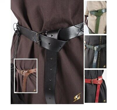 Medieval Long Leather X Stitched Design Belt for Theatre & Costume or LARP