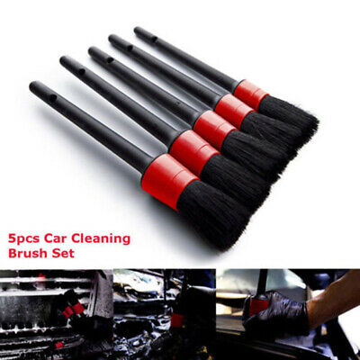 5pcs/Pack Car Detailing Brush Kit Boar Hair Vehicle Interior For Wheel Cleaning