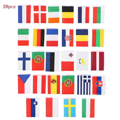 1/2x Nations Of Europe 28 Fabric Flags EU European Union Eurovision Bunting 10M