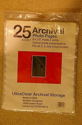 """25 Pieces Archival Ultra Clear Photo Pages Print Protector 8X10"""" Holds 2 Prints"""