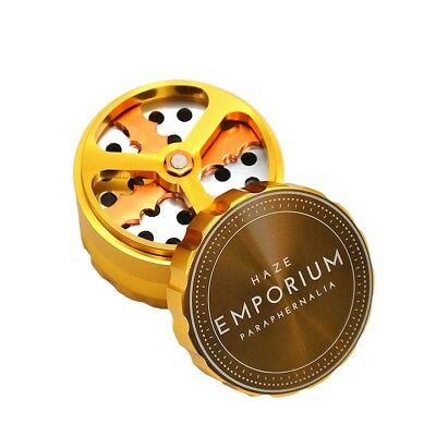 "1PCS ""EMPORIUM"" 63MM Aluminum Herb Grinder with Cutting Blades 4 Piece-Gold"