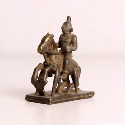 1800's Antique Old Brass Warrior On Horse Wax Casted Figurine, Rich Patina 3876