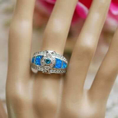 Antique Art Deco Vintage Jewellery Gold Ring White Sapphires and Opal Size R