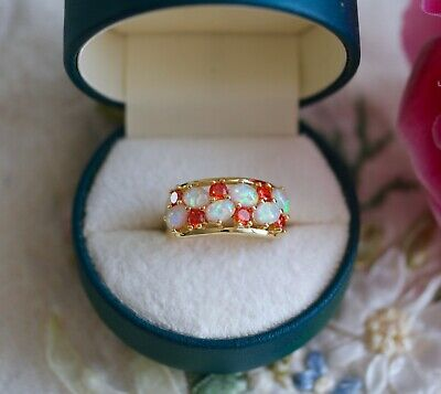 Vintage Jewellery Gold Ring With Garnet and Opals Antique Dress Jewelry Size R