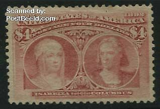 United States of America 1893 -  4$ rosa, unused without gum, tiny brown spot on